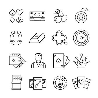 Jogos de azar, cassino, ícones simples de linha fina de pôquer
