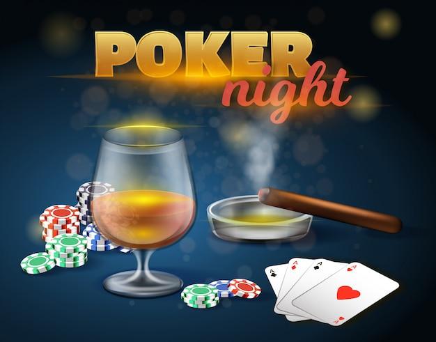 Jogos de azar de noite de pôquer no cassino.