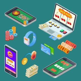 Jogos de azar online, elementos do vetor isométrico de aplicativo de cassino