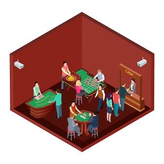 Jogos de azar, sala de cassino com pessoas isométricas