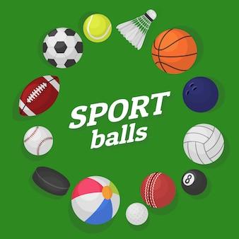 Jogos de bola. coleção de equipamentos esportivos bolas de futebol hóquei beisebol basquete bilhar banner colorido dos desenhos animados