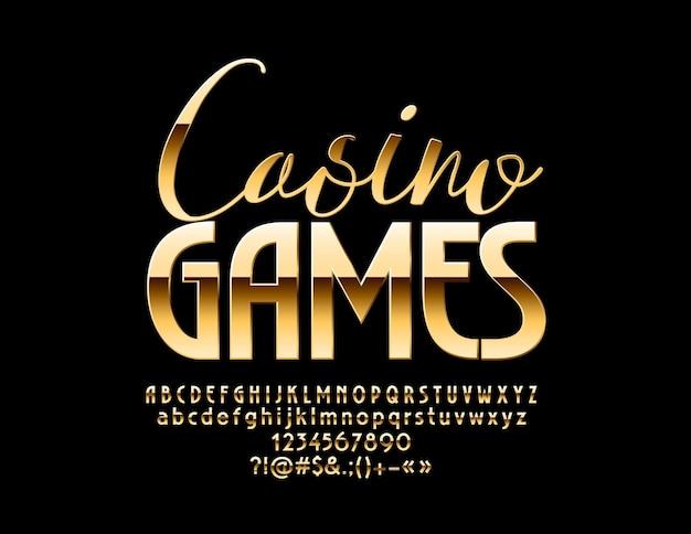 Jogos de casino emblem de luxo. letras, números e símbolos do alfabeto dourado. fonte brilhante elite