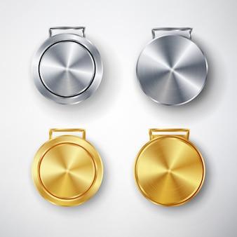Jogos de competição golden and silver medal set