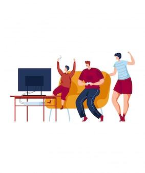 Jogos de computador, a família se diverte, pai e mãe gostam de se comunicar com as crianças, design na ilustração do estilo dos desenhos animados.