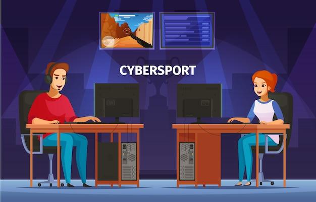 Jogos de cybersport jogando composição de personagens com garota e adolescente usando fone de ouvido
