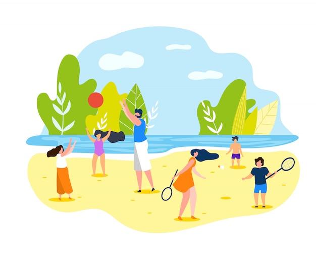 Jogos de esportes de verão na praia para toda a família.