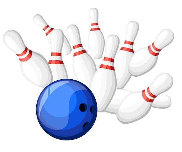 Jogos de pôster no clube de boliche. fundo com greve em skittles de bola de beco. ilustração. página do site e ilustração do aplicativo móvel