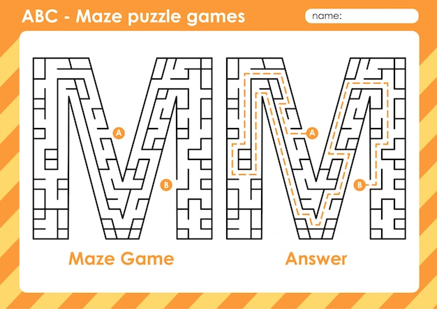 Jogos de quebra-cabeça do labirinto - atividade do alfabeto a - z para crianças: letra m