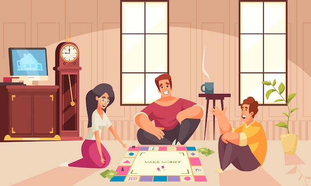 Jogos de tabuleiro, composição de dinheiro, dois homens e uma mulher jogam no chão da sala