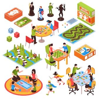 Jogos de tabuleiro pessoas conjunto isométrico