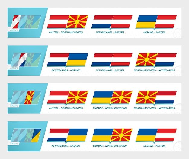 Jogos de times de futebol no grupo c do torneio europeu de futebol 2020-21. conjunto de ícones do vetor do esporte.