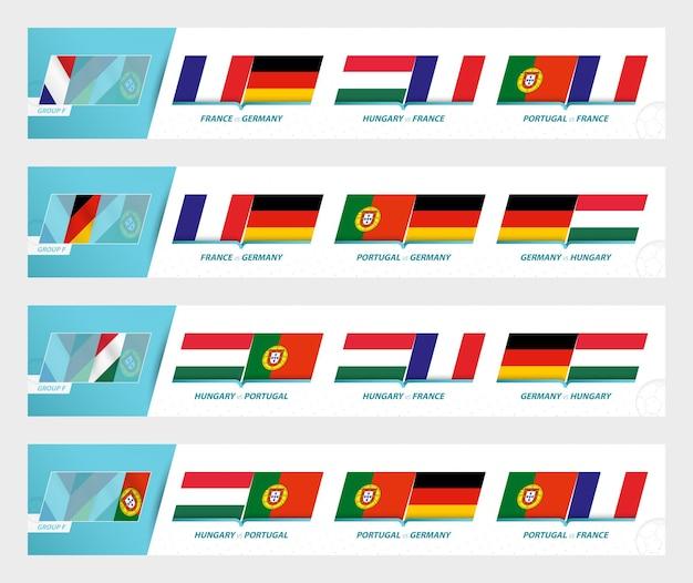 Jogos de times de futebol no grupo f do torneio europeu de futebol 2020-21. conjunto de ícones do vetor do esporte.