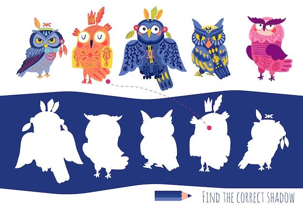 Jogos educativos correspondentes para crianças. encontre a sombra correta. quebra-cabeça de atividades para crianças em idade pré-escolar. corujas tribais bonitos dos desenhos animados.