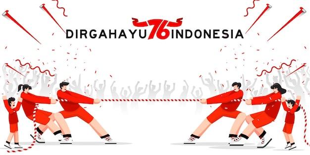 Jogos especiais tradicionais da indonésia durante o dia da independência, família, crianças cabo de guerra juntos
