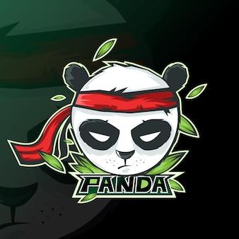 Jogos esportivos do logotipo do mascote da panda.