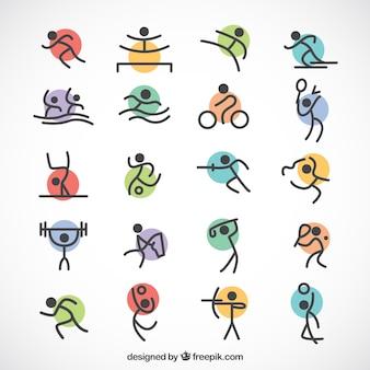 Jogos esportivos minimalistas com círculos coloridos