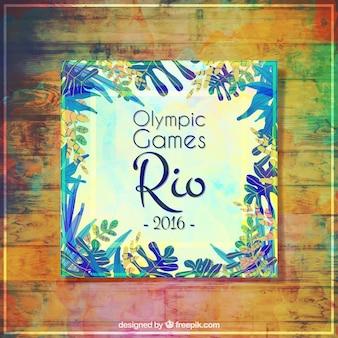 Jogos olímpicos rio de janeiro 2016 cartão com folhas da aguarela