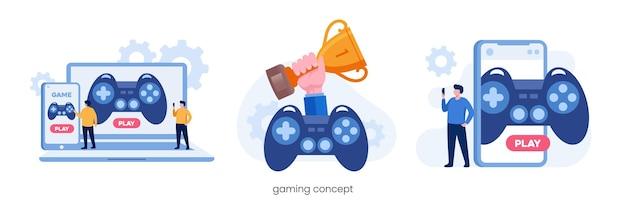 Jogos online com gadget. tecnologia de e-sport. ilustração vetorial plana