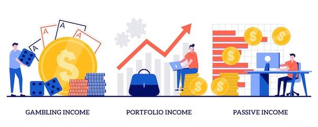 Jogos, portfólio, conceito de renda passiva com pessoas minúsculas. conjunto de ganho de capital. cassino online, investimentos e títulos, fluxo de caixa, slot de dinheiro, fundo mútuo, finanças.