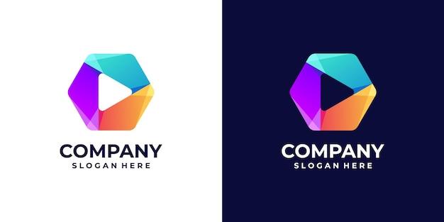 Jogue gradiente de logotipo com conceitos de hexágono