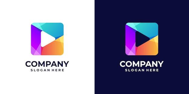 Jogue gradiente de logotipo com conceitos de quadrados