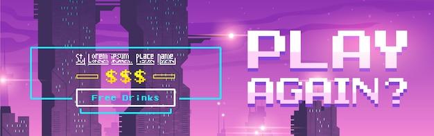 Jogue novamente banner de desenho animado de pixel art para jogo