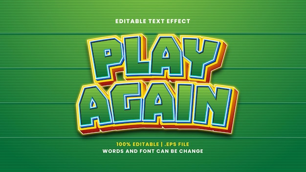 Jogue novamente o efeito de texto editável em estilo 3d moderno
