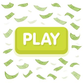 Jogue o conceito do jogo. chuva de dinheiro do dólar. cem notas voando. fundo de finanças sem costura. ilustração vetorial.