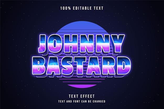 Johnny bastardo, efeito de texto editável em 3d gradação azul estilo de texto neon dos anos 80
