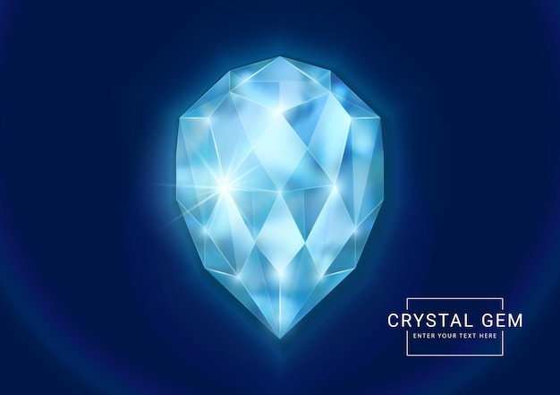 Joia de cristal fantasia em forma de gota oval de pedra poligonal