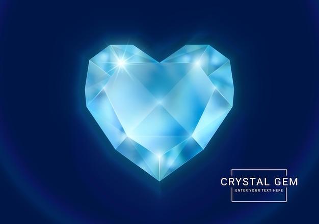 Joia de cristal fantasia em pedra com formato de coração poligonal