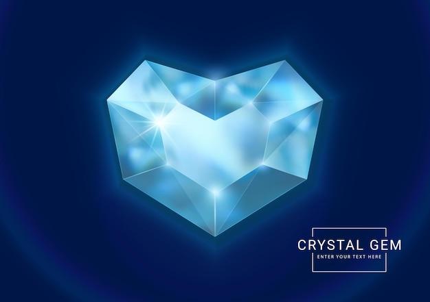 Joia de cristal fantasia em pedra com formato de coração poligonal Vetor Premium
