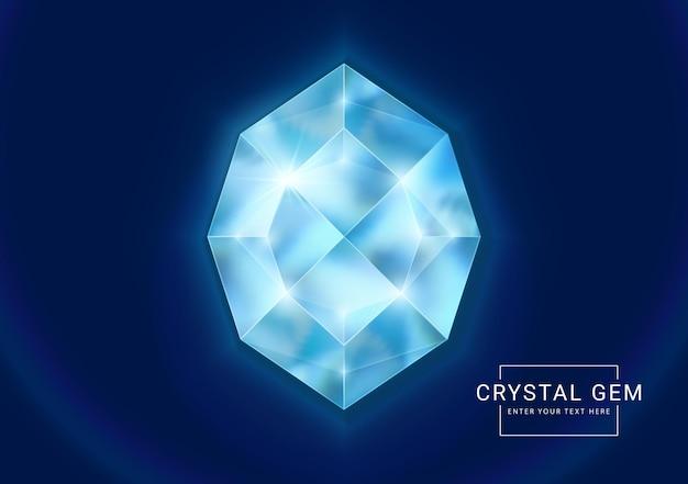Joia de cristal fantasia em pedra em forma de polígono