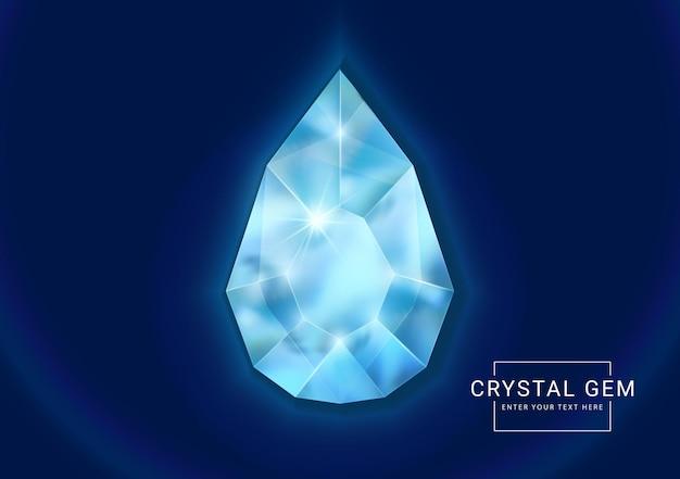 Joia de cristal fantasia em pedra oval em forma de polígono