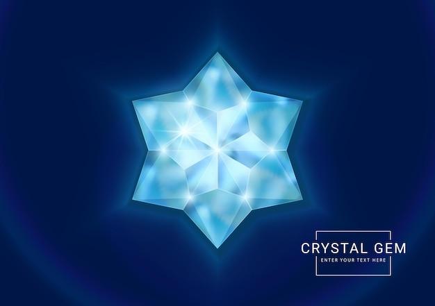 Joia de cristal fantasia em pedra poligonal em forma de flor de estrela