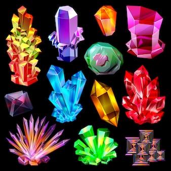 Jóia de pedra cristalina de cristal e pedra preciosa preciosa para conjunto de ilustração de joias ou cristalização pedregosa mineral de quartzo natural
