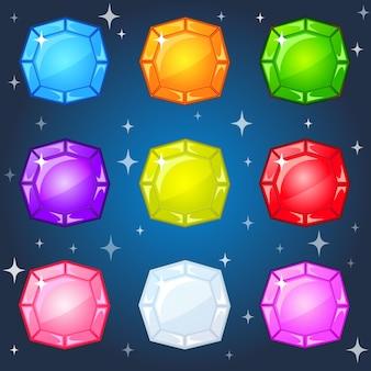 Jóias 9 cores para 3 jogos de jogo.