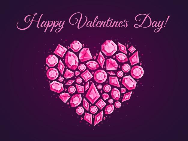 Jóias amor coração cartão. cartaz de diamantes de jóias, panfleto de cristal de joia ou ilustração de corações de diamante