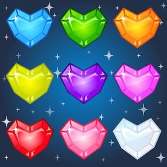 Joias coloridas com forma de corações para 3 jogos de partida