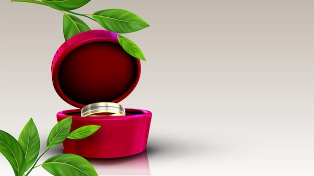 Jóias de ouro e prata anel na caixa vermelha