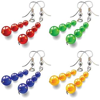 Joias femininas, brincos com pedras vermelhas, verdes, azuis e amarelas isoladas