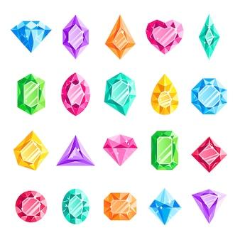 Jóias gemas, diamante jóias, jóia coração cristal gem e diamantes gemstone isolado conjunto