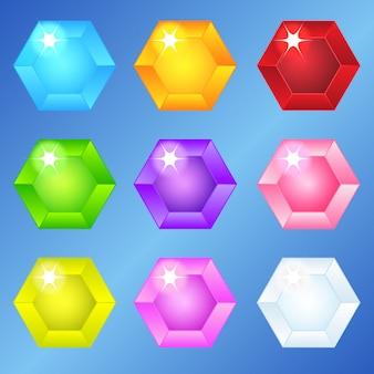 Jóias hexágono 9 cores para 3 jogos de jogo.