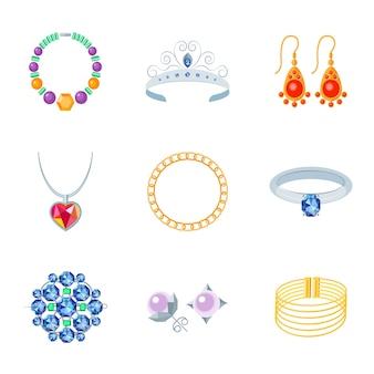 Jóias, ícones lisos, conjunto, colar, tiara, brincos, isolado, ilustração vetorial