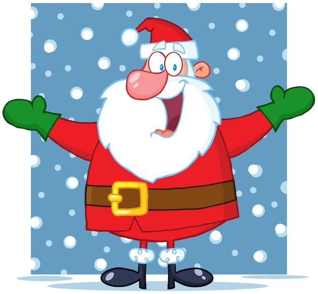 Jolly papai noel de braços abertos na neve