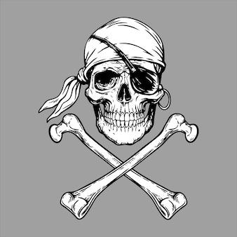 Jolly roger pirate cabeça bandana e osso cruzado. ilustração
