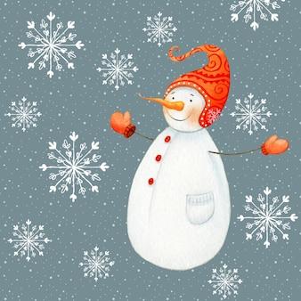 Jolly snowman hug