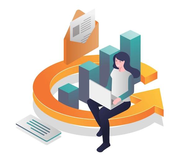 Jornada de investimento bem-sucedida em ilustração isométrica