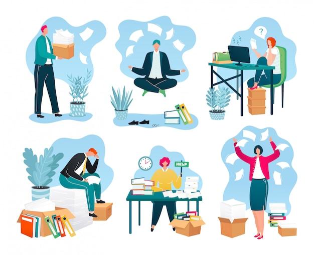 Jornais de negócios no escritório, pilhas de documentos, relatórios no local de trabalho, um conjunto de papelada de ilustrações. empresário com enorme pilha de papelada. trabalhadores sobrecarregados e burocracia.
