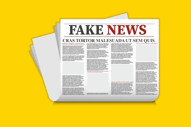 Jornal com notícias falsas. modelo de notícias falsas. mock-se de um jornal diário em branco. modelo de jornal, folhas impressas com manchete.